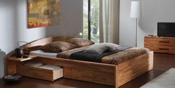 Двуспальная кровать с ящиками-комфорт и практичность