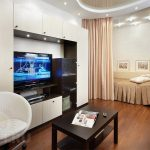 Функциональное зонирование пространства при помощи мебели в однокомнатной квартире