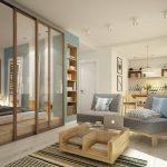 Гостиная и спальня в дизайне 1 комнатной квартиры