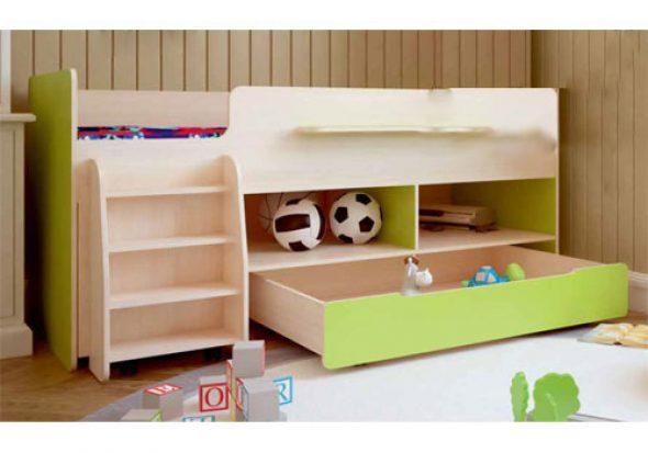 Кровать-чердак с ящиком Тимон