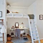 кровать чердак белого цвета