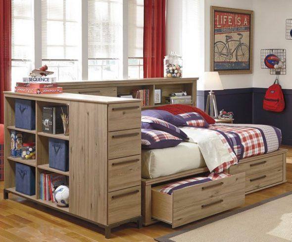 Кровать для подростка с ящиками и полками