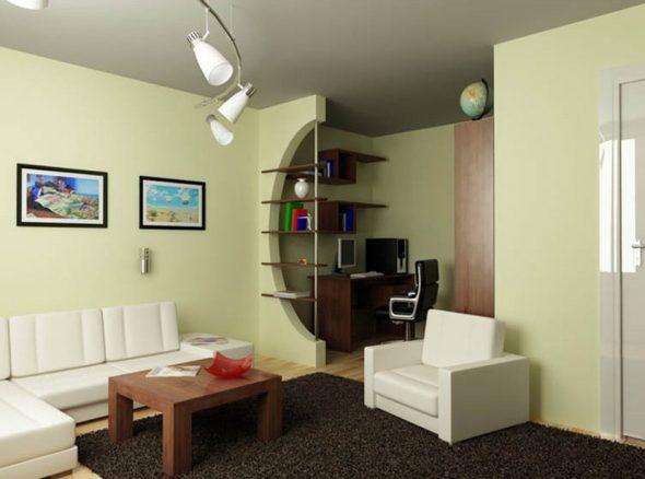 Пример грамотного выделения рабочей зоны в однокомнатной квартире