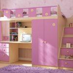 детская кровать чердак розовая