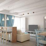 дизайны для однокомнатных квартир зонирование