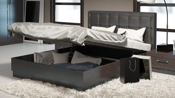 кровати двуспальные с ящиками для хранения - фото