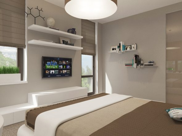 спальня с полками