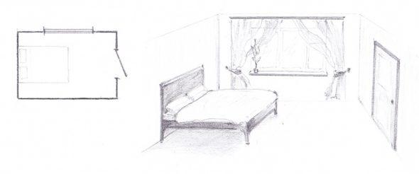 расположить кровать