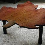 деревянный стол в виде листа