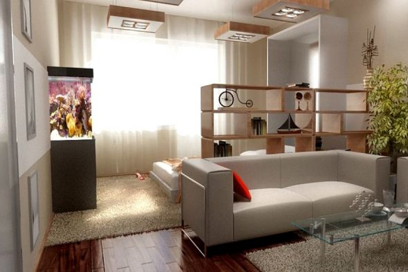 зонирование с помощью стеллажей и дивана