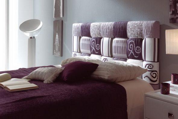 Кровать с мягким изголовьем в стиле пэчворк