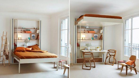 Кровать с подъемным механизмом в дизайне квартири
