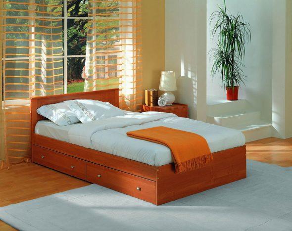 Односпальная кровать 90 х 200 см с ящиками