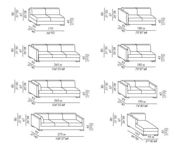 Размеры прямых диванов