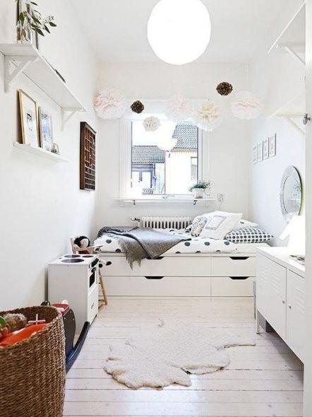 Белая мебель для спальни девочки-подростка