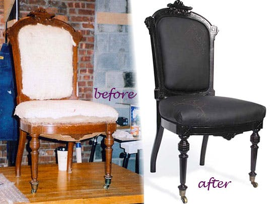 деревянный стул до и после реставрации