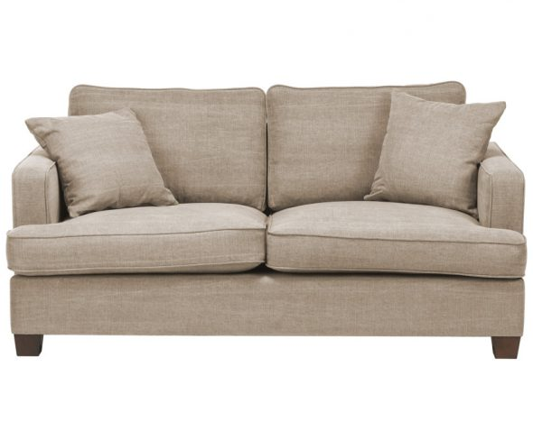 двухметсный диван бежевого цвета в дом