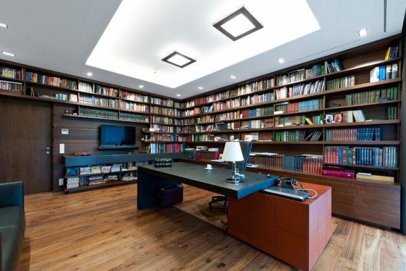 Кабинет для мужчина с книжными полками
