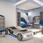 Комната для подростка с кроватью в виде машины