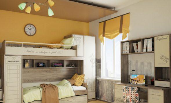 Кровать-чердак с дополнительным спальным местом внизу