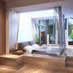 Кровать-подиум с балдахином для спальни в загородном доме