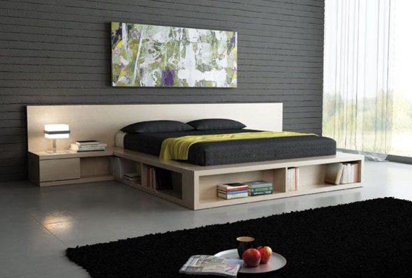 Кровать-подиум с встроенными нишами для хранения