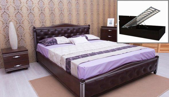 Кровать с мягкой спинкой и подъемным механизмом