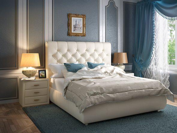 Кровать с мягкой спинкой в замке