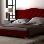 Кровать в стиле ретро с мягким бархатным изголовьем