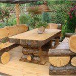 Мебель для беседки из бревен