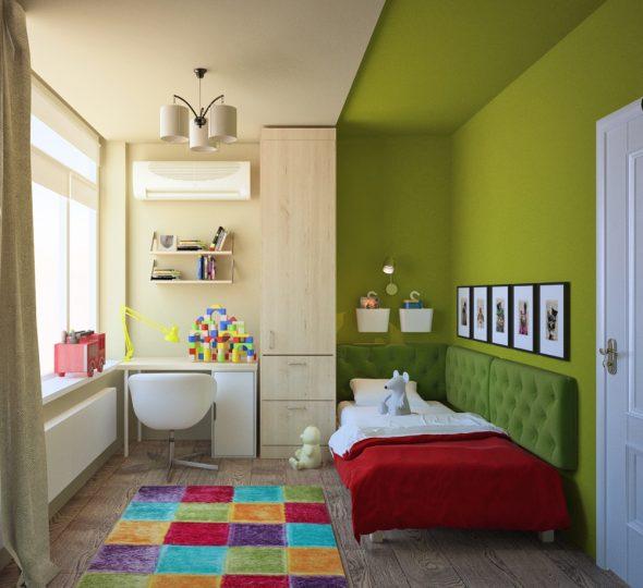 Небольшая детская комната с зонированием