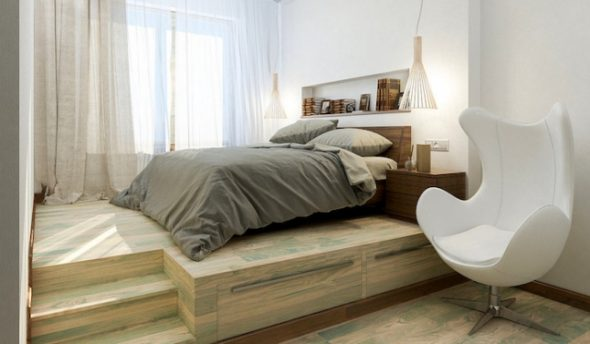 Оригинальная кровать-подиум в интерьере