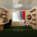 Оригинальный зеленый коврик в виде футбольного поля в детскую
