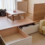 Подиум для кровати с выдвижными ящиками и складным столом