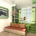 Подиум в зеленом цвете с выдвижной кроватью