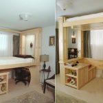 Поднимаемая кровать-чердак у окна для маленькой комнаты