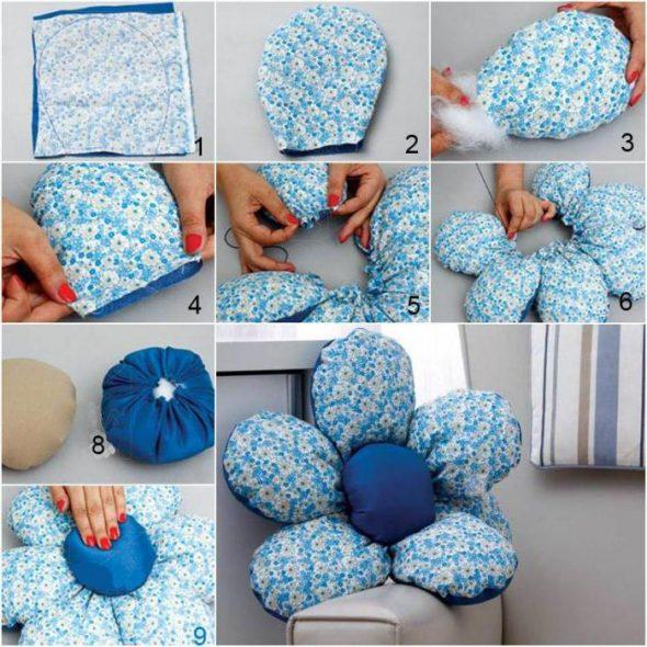 Пошаговые фото изготовления мягкой подушки в форме цветка