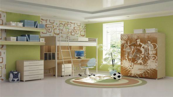 Просторная комната, в пастельных тонах для подростка