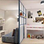 Разделение с помощью перегородки комнаты на гостиную и детскую часть