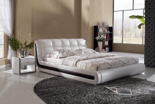 Необычные формы и цвета для кровати с мягкой спинкой