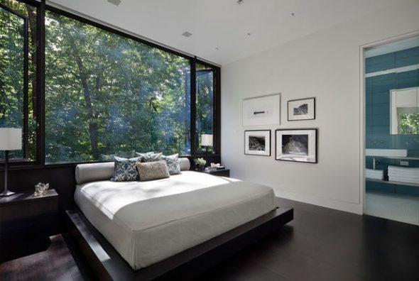 Спальня в стиле модерн с неправильным расположением кровати по фэн-шуй