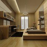 Стильная спальня с встроенной мебелью и кроватью-подиумом