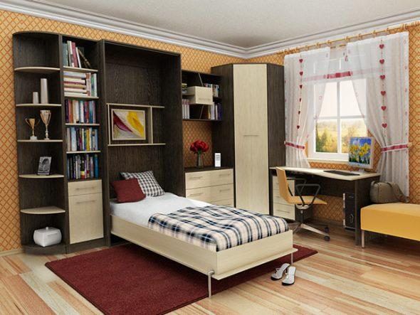 Удобная спальня с встроенной кроватью-трансформер