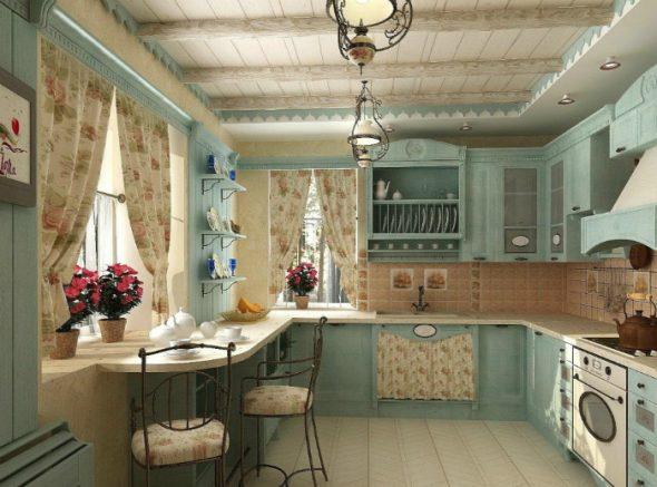 Уютная кухня в светлых тонах с изящной мебелью