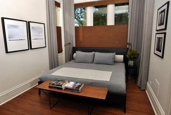 Узкая спальня в современном стиле
