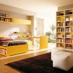 Яркая солнечная комната с книжными шкафами