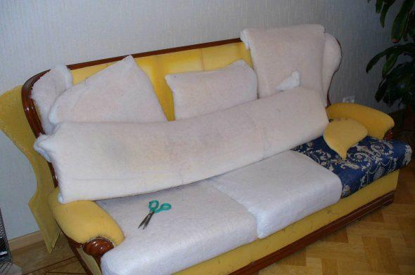 Замена наполнителя при реставрации мебели