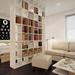 Зонирование с помощью книжного шкафа для спальни-гостиной