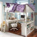 Белая кровать-чердак для девочки