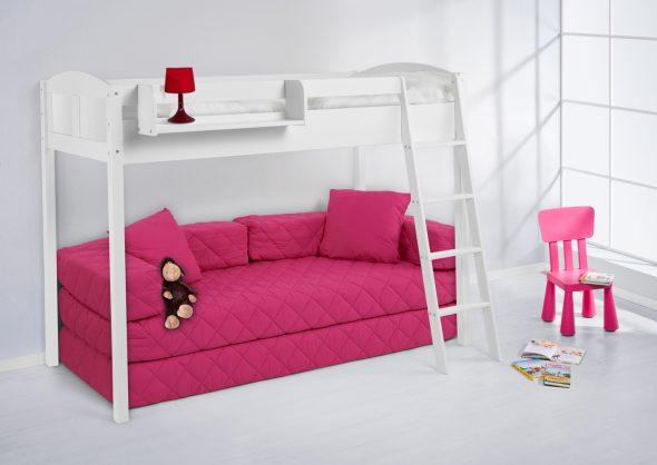 Белая кровать-чердак с диванчиком внизу